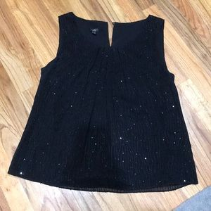 Black sequined holiday top